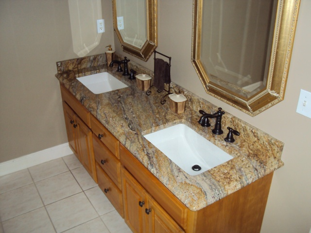 Bathroom Remodel · Yellow River Granite With Kohler 2214 Sinks